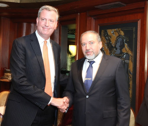 Bill de Blasio & Avigdor Lieberman